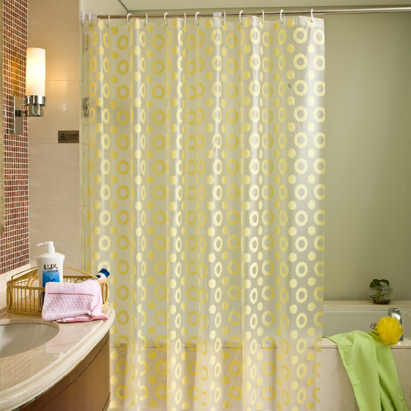 Feiqiong Brand 150x180 PEVA Waterproof Shower Curtain Metal Grommets yellow circle Modern Bathroom Shower Curtain With 12hooks