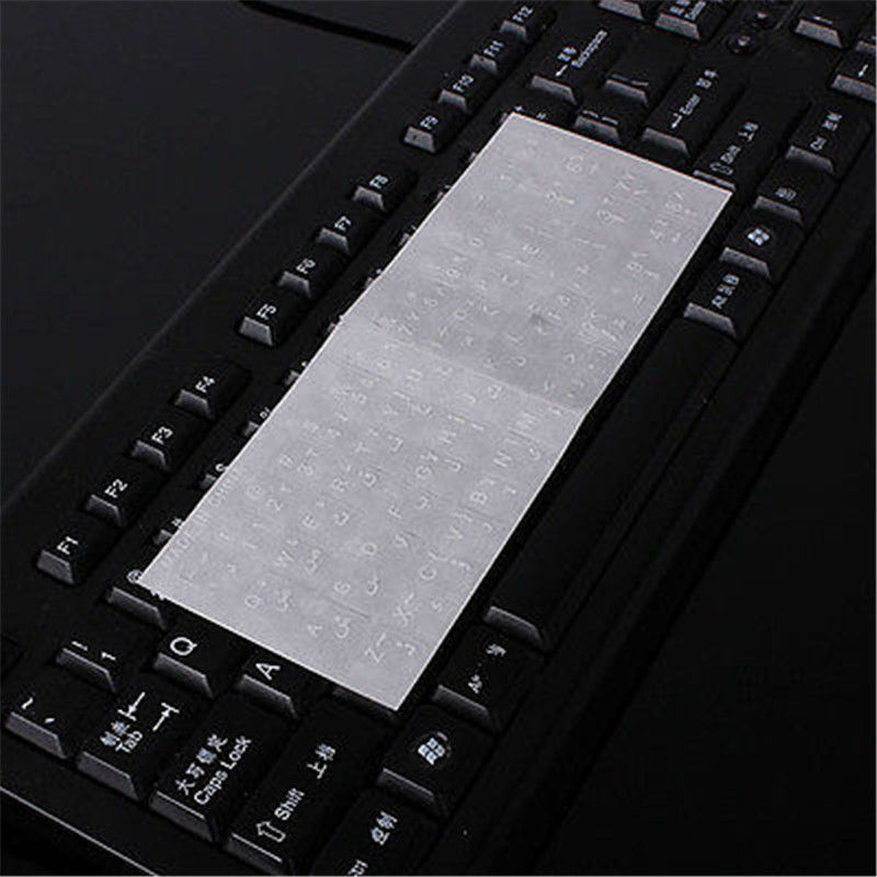 White Letters Arabic Layout Transparent Keyboard Sticker No Reflection PVC New letters wall sticker