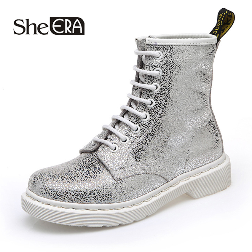 Women Ankle Boots Genuine Leather Cow Leather Silver/White Casual Female Shoes Spring/Summer/Autumn/Winter Ladies Shoes Footwear