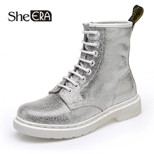 Купить с кэшбэком Women Ankle Boots Genuine Leather Cow Leather Silver/White Casual Female Shoes Spring/Summer/Autumn/Winter Ladies Shoes Footwear