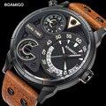 Мужские часы, модные мужские спортивные кварцевые часы BOAMIGO, брендовые наручные часы с двойной датой и кожаным ремешком, водонепроницаемые, ...