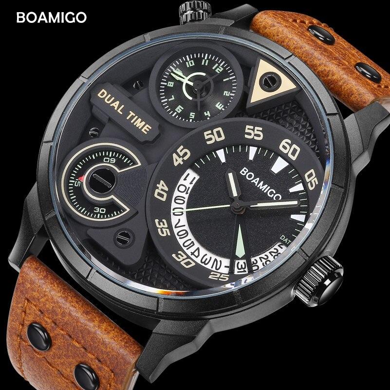 Herren uhren mode männer sport quarzuhr BOAMIGO marke dual time datum armbanduhren lederband wasserdicht relogio masculino