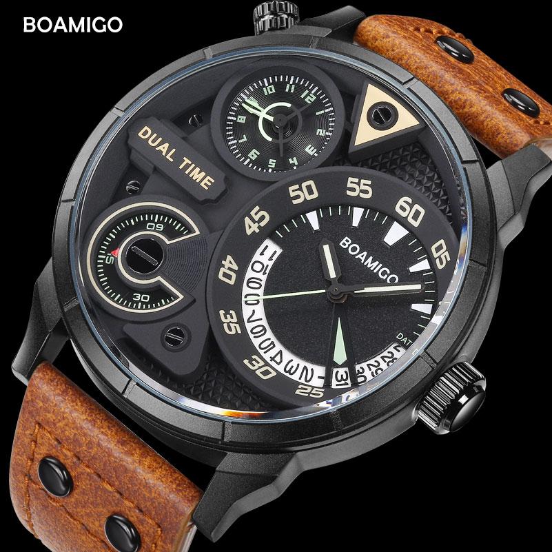 Mens Watches Fashion Men Sport Quartz Watch BOAMIGO Brand Dual Time Date Wristwatches Leather Strap Waterproof Relogio Masculino