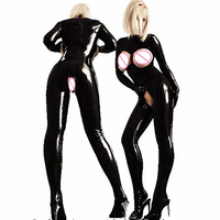 Plus Size Women Catsuit Faux Leather Bodycon Fetish Open Bust Bodysuit Sexy Crotchless PVC Latex Tight Fitting Jumpsuits