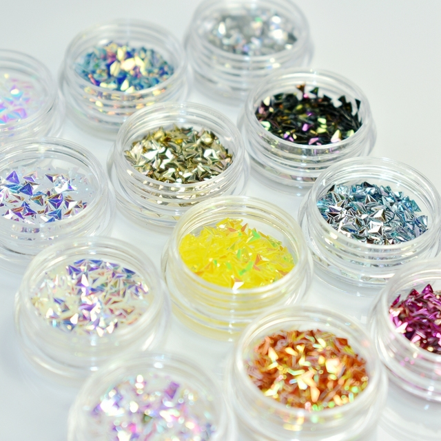 12pcs/kit Holographic Triangle Shape Nail Art Decorations Glitters ...