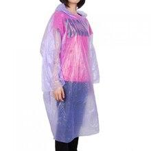5pcs/lot Raincoat Outdoor Men and Women Hiking Hat Transparent Poncho Single Plus Size Rain Coat Random Color -46