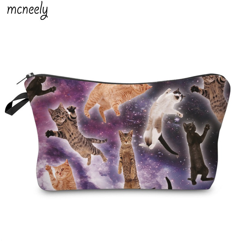 Worldwide Popular Cats Make Up Case Cosmetic Bag Travel Wash Pouch Zipper Waterproof Make Up Organizer Toiletry Storage temptations mixups surfers delight flavor treats for cats pouch mega bag