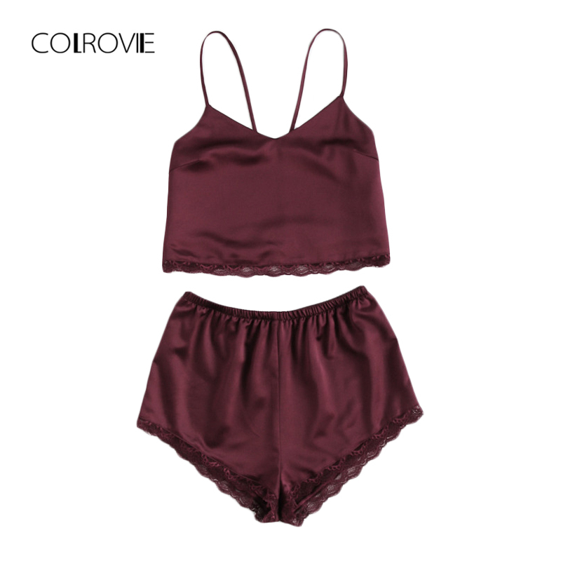 COLROVIE Sleeveless Lace Trim Satin Cami And Shorts Pajama Set Spring Burgundy V Neck Sexy Set Sleepwear Summer Women Pajamas