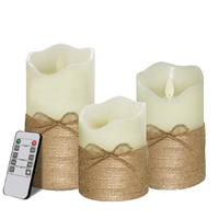 3pcs Flameless Battery Powered True Wax Rope Bowknot Simulation Decoration Wedding Remote Control Candle Lamp LED Electronic