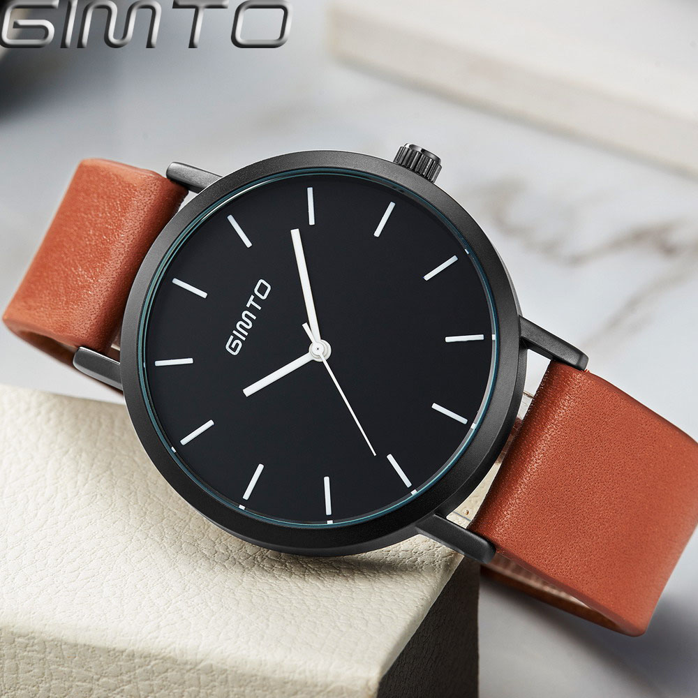 GIMTO Brand Dress Quartz Women Watches Leather Fashion Casual Ladies Lovers Watches Female Clock Sport Montre Relogio Feminino 2017 luxury brand gimto sport watches women leather ultra slim gold quartz watch male female clock relogio feminino montre gift