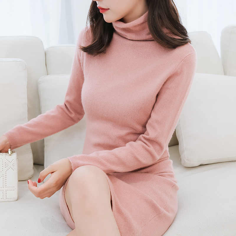 SZDYQH Women Sweater Dress 2018 New Arrival 100% Pure Cashmere Turtleneck Pullovers Long And Soft Femme Dresses