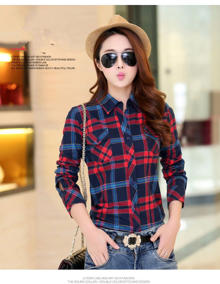 Women plaid shirts girl flannel thicken tops female spring for Girl in flannel shirt