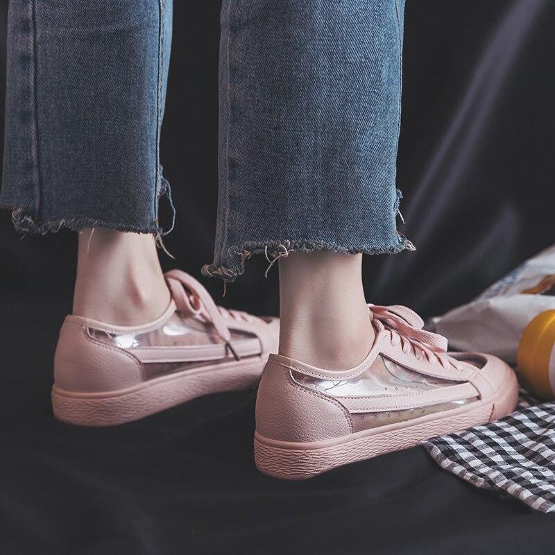 d7a2d2324 حذاء رياضة أحذية نسائية قماشية مبركن 2019 جديد الربيع الخريف سيدة حذاء أنيق  الأزياء عالية أعلى الدانتيل يصل كعب مسطح الأحمر الأصفرUSD 17.34-20.26/pair