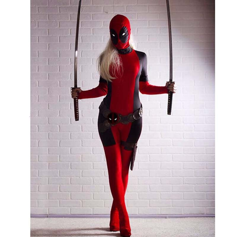 Deadpool Costume Wholesale,2018 Cool Lady Deadpool Costume Red Full Body Spandex Girl/Women/Female Deadpool Superhero Cosplay
