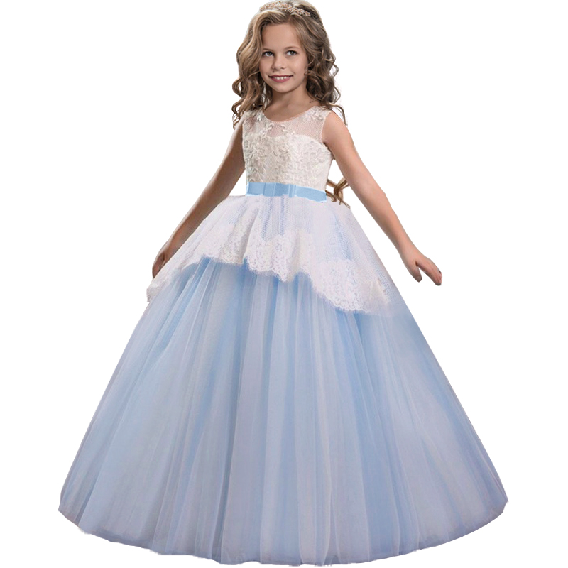 2019 Teenager Bridesmaid Ball Gown Birthday Party Dress For Kids Girl Dresses Wedding Girls Clothing Princess Dress 10 12 Years(China)