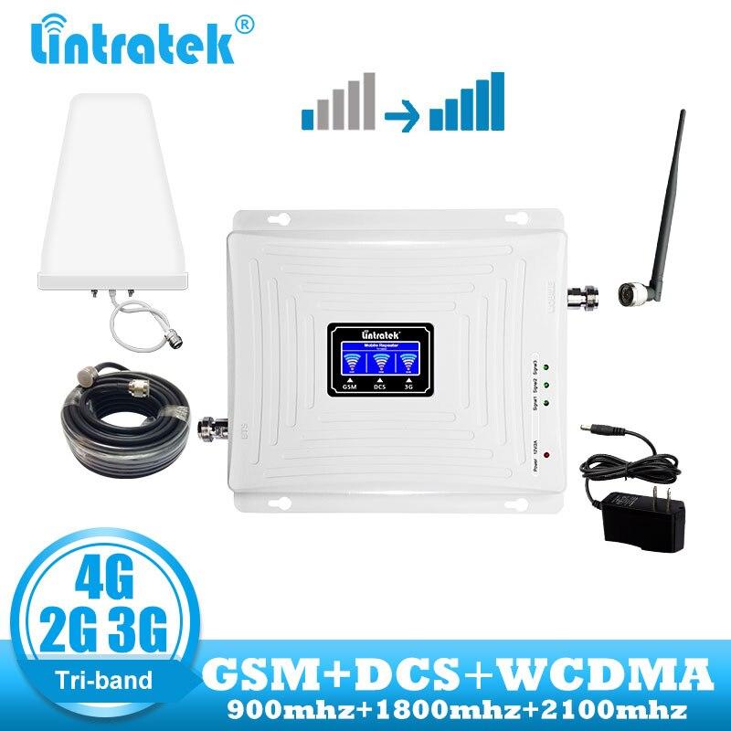 Lintratek 2g 3g 4g gsm répéteur 900 dcs lte 1800 wcdma 2100 cellulaire signal booster communication amplificateur 2 antenne + câble
