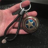 Frete grátis Marvel Os Vingadores Super Heroes Capitão América Estilo Logo de Metal Pingente Chaveiro Chaveiro Anel chave do carro cadeia