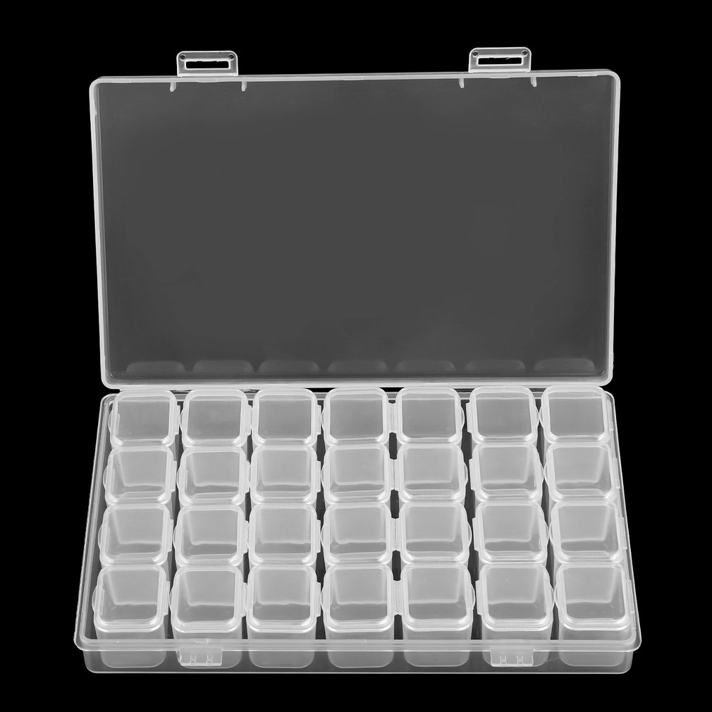 28 Slots Clear Plastic Rhinstone Beads Holder Storage Box for Nail Art Manicure Tools Jewelry Display Case Organizer