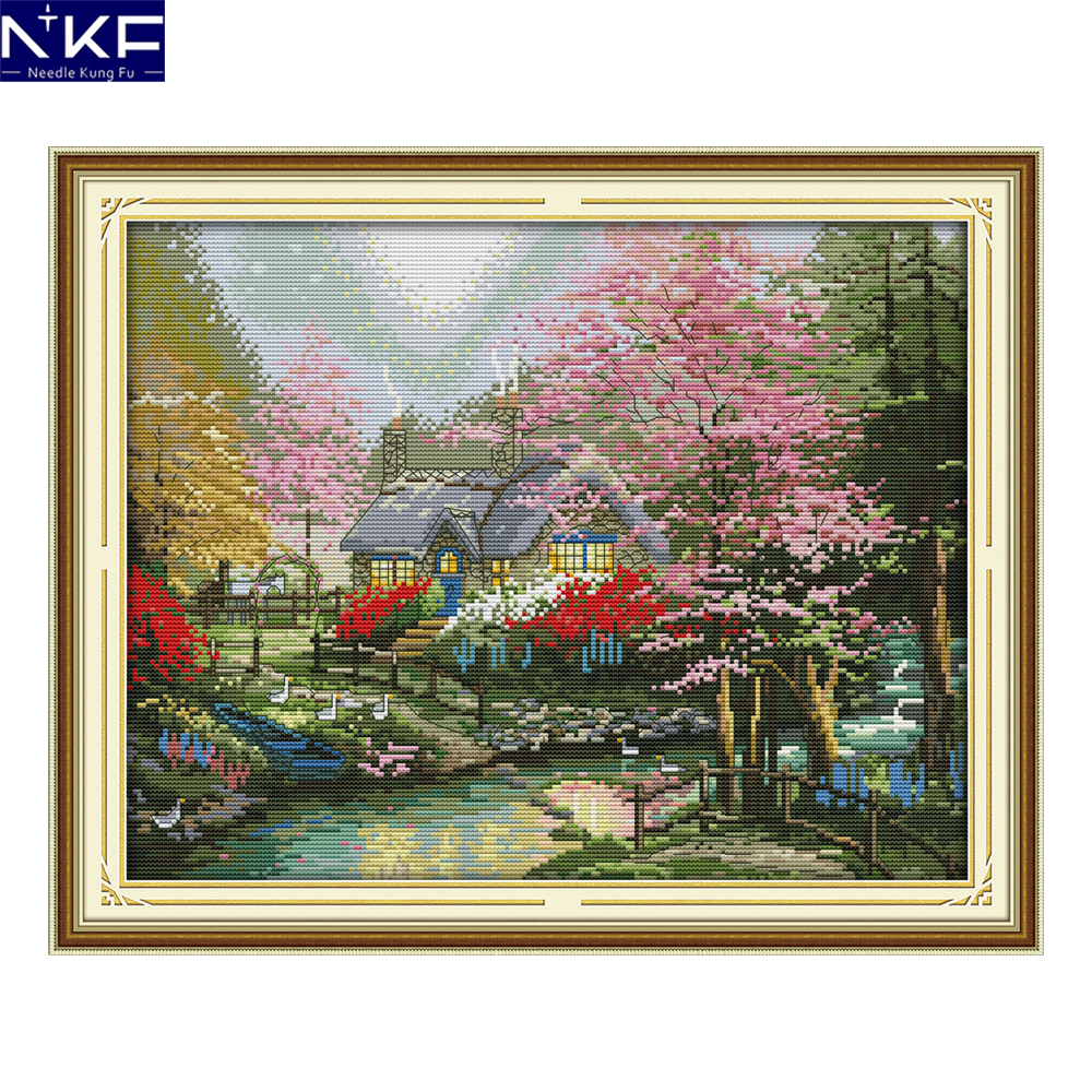 NKF Chinese Cross Stitch Kits Stamped Counted Canvas DIY Embroidery Needlework The stream side cottage For Home Decoration