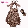 Кружева Leopard Baby Rompers Младенческой Одежда 2017 Новый Хлопок Весна Лето Оборками Одежда Набор Новорожденных Девочек с соответствующими Оголовье