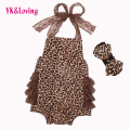 Lace Leopard Baby Rompers Infant Clothing 2017 New Cotton Spring Summer Ruffles Clothes Set Newborn Girls with matching Headband