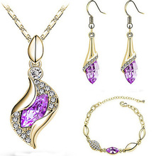 QCOOLJLY Jewelry For Women Wedding Bridal Dress Accessories Water Drop Crystal Necklace Earrings Set Gold-Color Party 2016