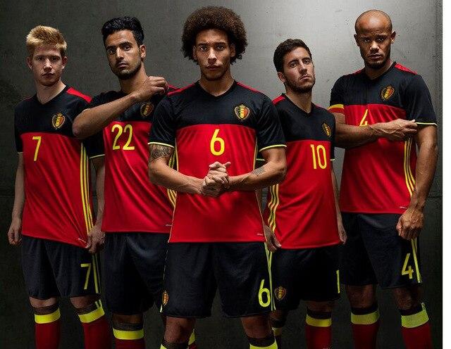 top thailand belgium jersey 2015 2016 home red soccer jerseys eden hazard de bruyne kompany vertonghen belgium football shirts in soccer jerseys from sports