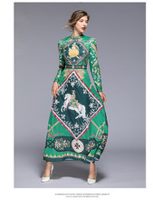 European station spring and summer new green printed dress retro positioning print free shipping