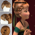 SHENGMEIYUAN Movies Frozen Snow Queen Anna Brown Weave Ponytail Harajuku Cosplay Wigs Free ship