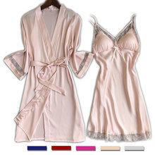 Женская атласная кружевная ночная рубашка