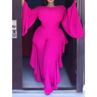2019 Plus Size Casual Jumpsuit Women Ruffle Sexy Fashion Elegant Flare Long Sleeve Spring High Waist Prom Rompers Long Jumpsuits
