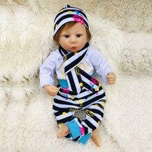 Bebe Reborn Dolls Soft Vinyl Silicone Newborn Doll bonecas  18 inch Reborn Baby Doll Closed Eyes for Children Gifts Kids Toys недорого