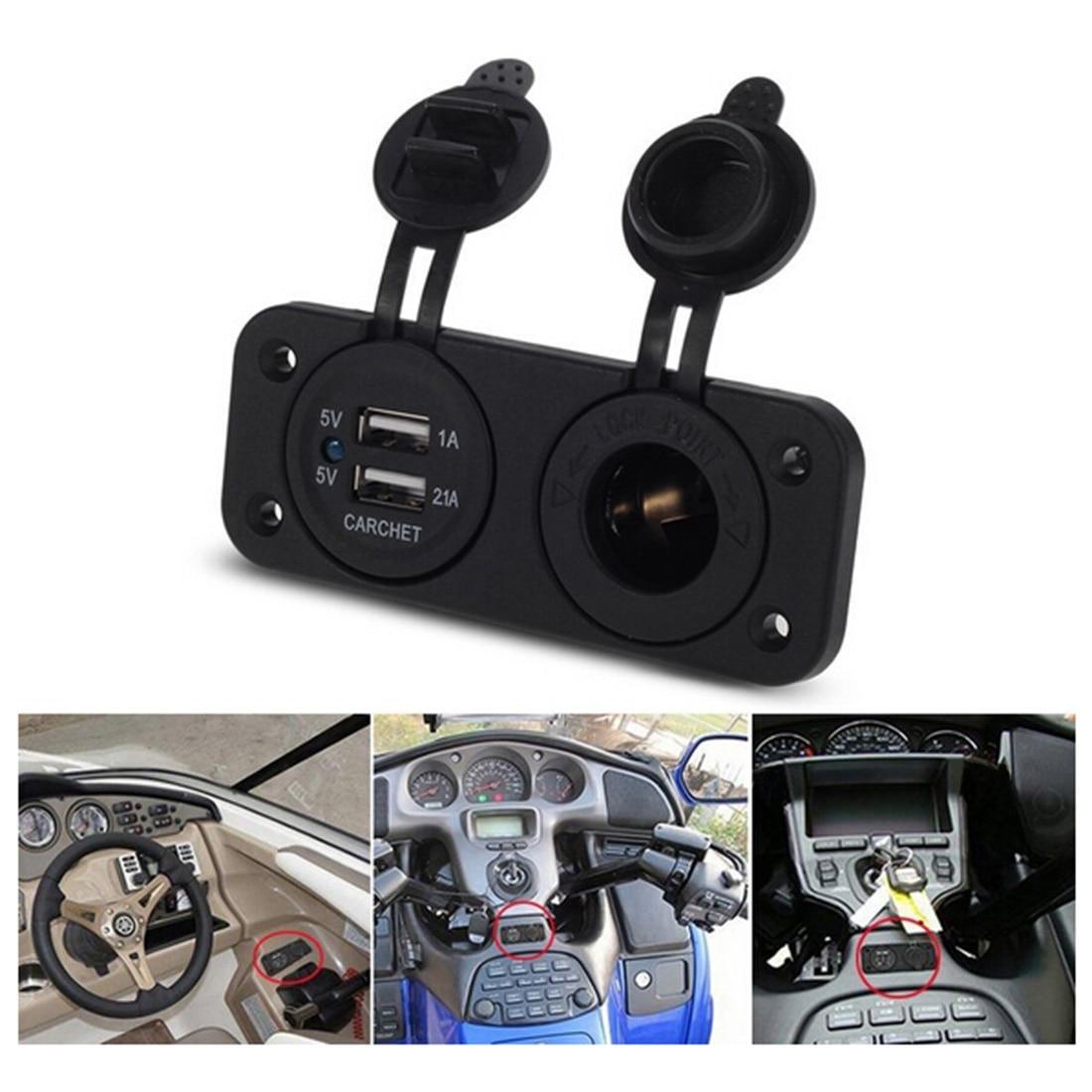 Dewtreetali Hot Selling Black Dual Car Cigarette Lighter Socket Splitter 12V Charger USB Power Adapt