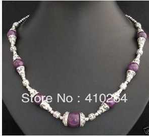 $ Wholesale_jewelry_wig $ freies verschiffen Charme Tibet Silber Asiatische lila jade perlen Halskette