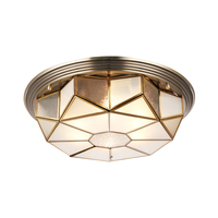 Fashion Europe Vintage Copper Glass Ceiling Light America Home Deco 6 Pcs E27 Bulb Ceiling Lamp