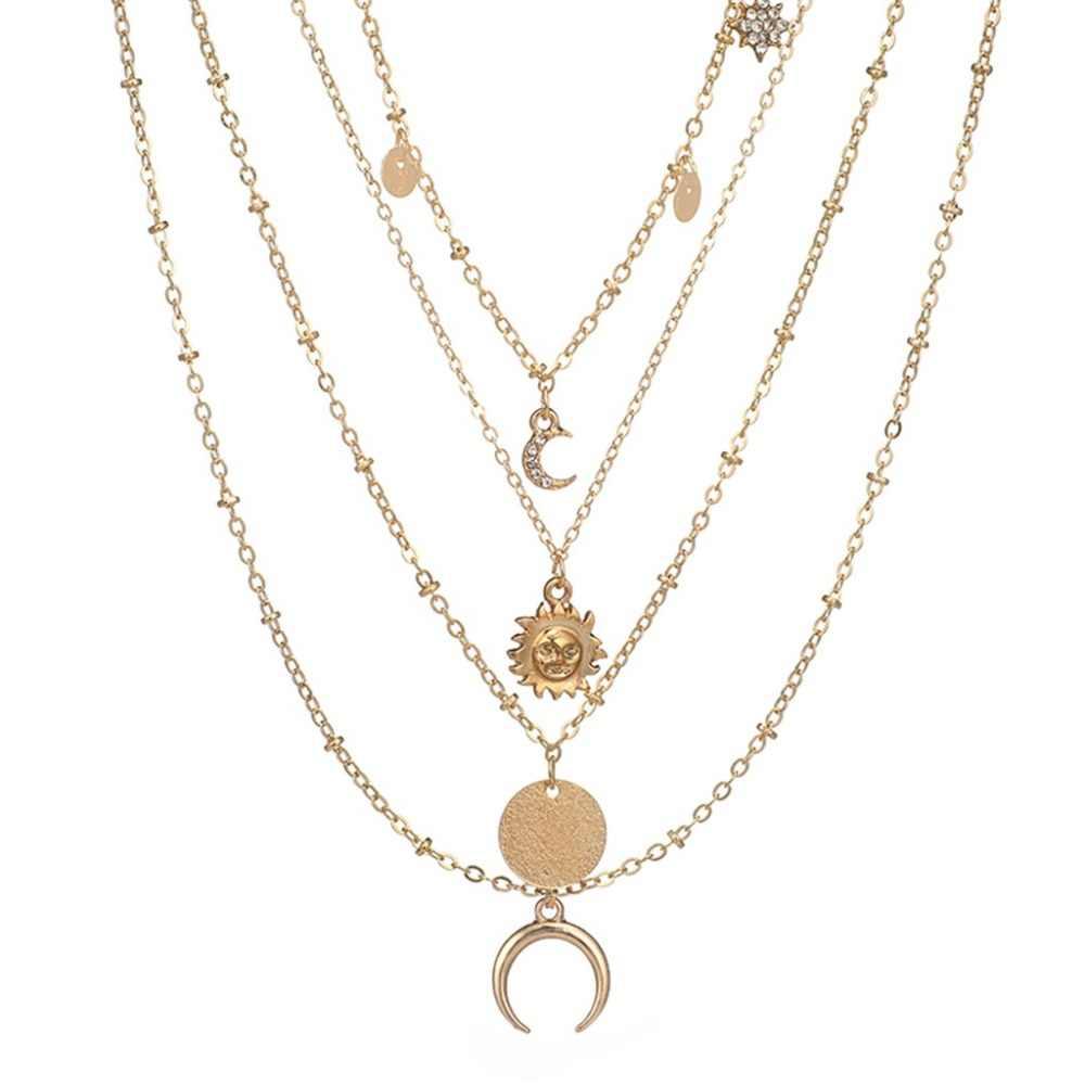 Naszyjnik księżyc róg okrągła tarcza zestaw WithPendant cztery naszyjnik łańcuszek do obojczyka elegancki freshion mini kobiety biżuteria @ 9