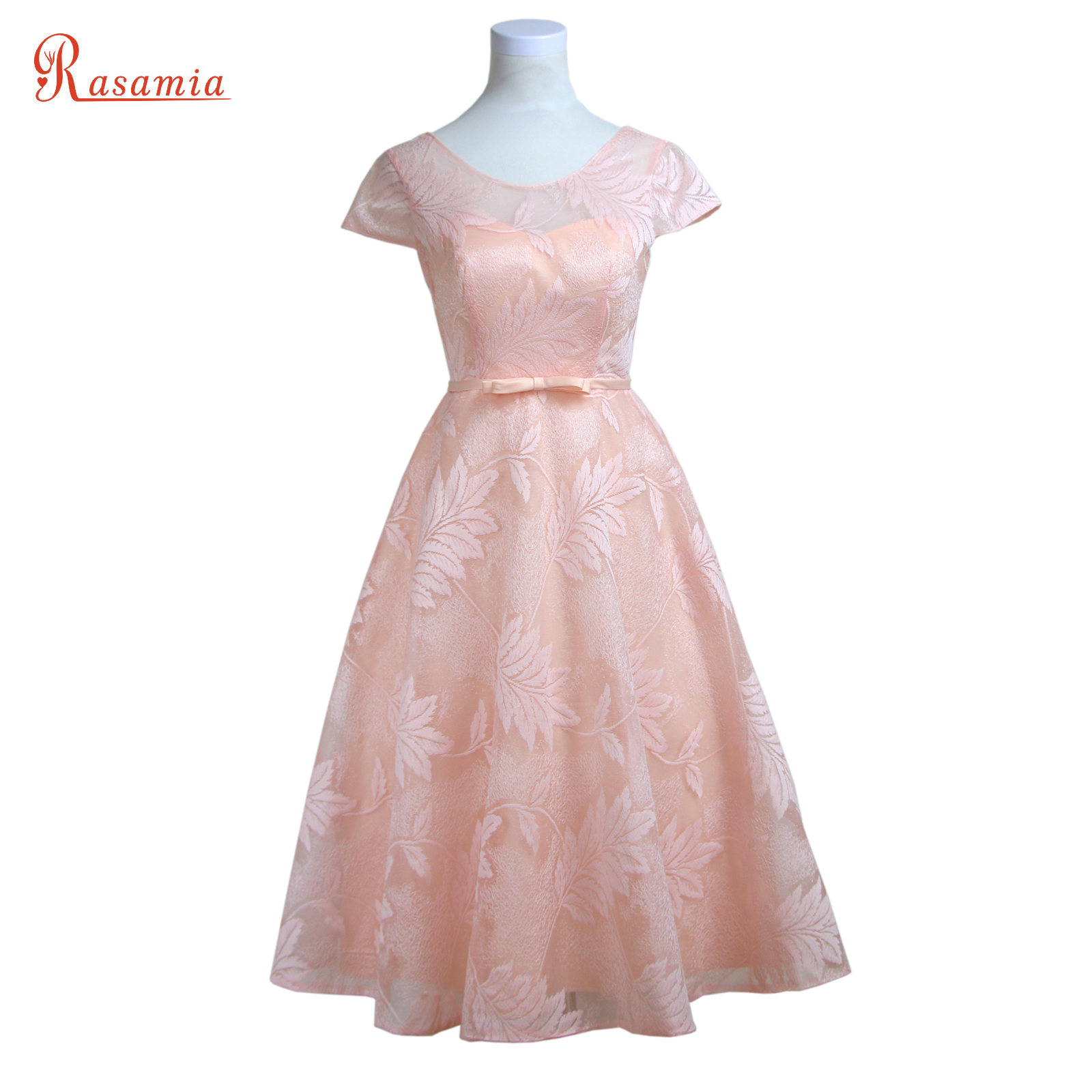 Tea Gown: Print Floral Prom Gown Dress Short Sleeve Pink Women Party