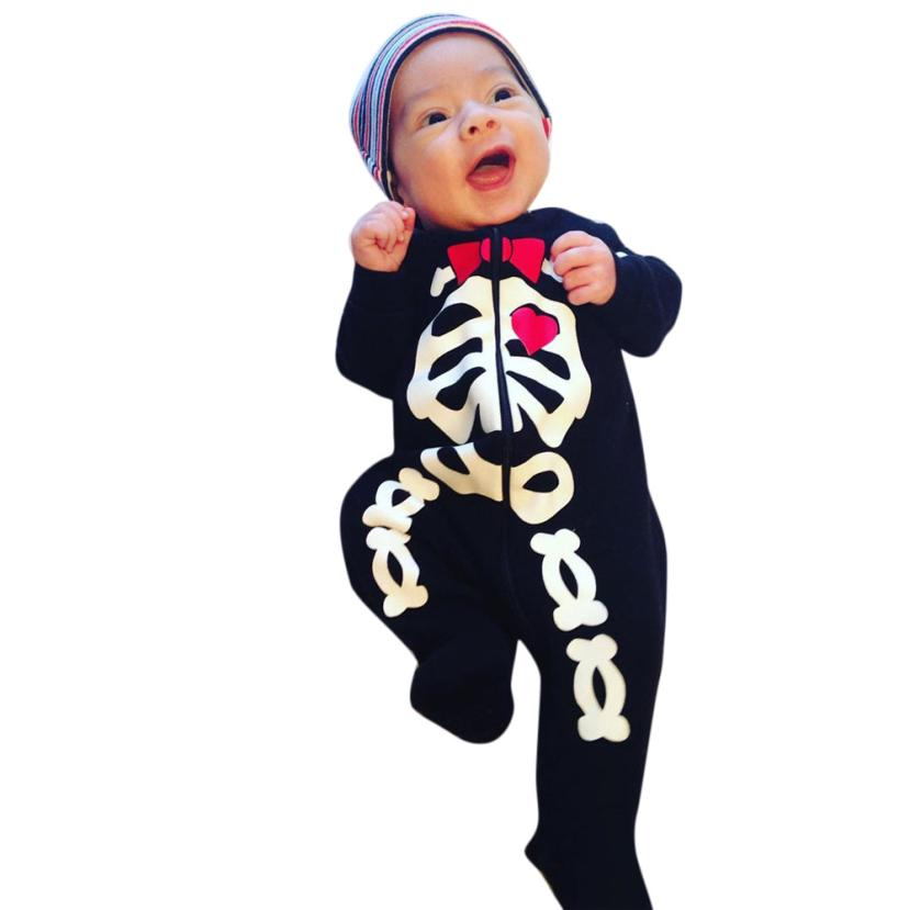 Hot sale fashion newborn unisex Baby Boy Girl Clothes Skeleton Bodysuit Jumpsuit Outfits black Long Sleeve body infantil bebes 3pcs set newborn infant baby boy girl clothes 2017 summer short sleeve leopard floral romper bodysuit headband shoes outfits