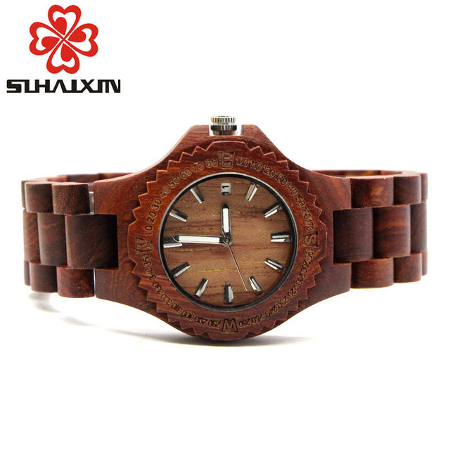 men colorful week s product wooden casual handmade wrist watch watches quartz wood display date mens