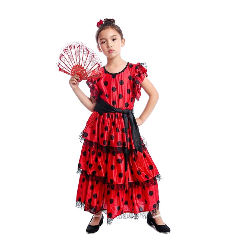 5d029b3bf Español señorita chicas Flamenco tradicional bailarina niños vestido de  traje - a.samuelk.me