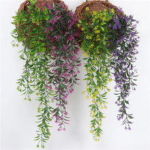 1pc Artificial Hanging Plant Leaves Orchid Rattan Green Plant Orange Leaf Flowers for Home Garden Wall Decoration Decor