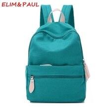 ELIM PAUL Canvas School Bag Women School Backpacks For Teenage Girls Pink Blue Green Red Studded