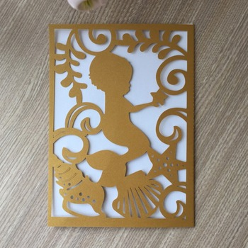 35pcs Laser Cut Pearl Paper Invitations Card 1th Birthday Party Celebration Baby Shower Decorations Gift Card