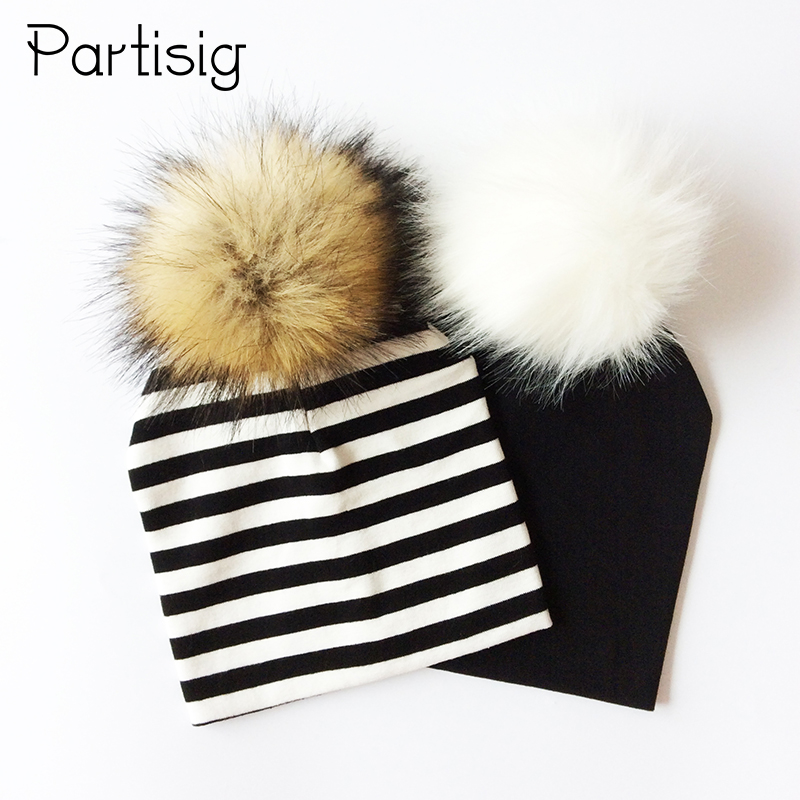 все цены на Baby Hat Faux Raccoon Fur Baby Boy Hat Artificial Hair Baby Girl Cap Winter Pompom Bobble Kids Cap Striped Children's Hats