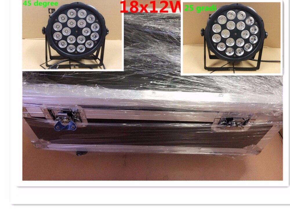 10 pz LED Par Luce 18x12 W + flightcase RGBW 4IN1 LED di Lusso DMX Led Flat Par Luci dj