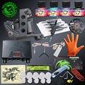 Kits completos de Tatuagem 1 Arma Tatuagem Potência Da Máquina de Fornecimento de Conjuntos de 4 Cores de Tinta Agulha Descartável Dicas de Aderência