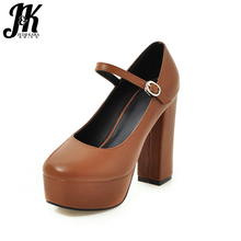 J&K 2017 Brand Design Classic Mary Janes Pumps for Lady Fashion Square toe Ankle Strap High Heeled Shoes Platform Shallow Pumps
