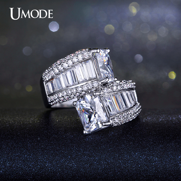 UMODE Two Big Princess Cut Cubic Zirconia Bypass Ring and Rectangle CZ White Gold Plated Jewelry For Women UR0201 Детская кроватка