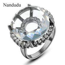 Nandudu 2cm Big Austrian Crystal Ring Special Design Female Girl Women Rose Gold Color Rings Fashion Jewelry Gift R695