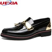 UEXIA 2018 New Spring Autumn British Leather Men Shoes Business Platform Fashion Flats Dress Male Shoes